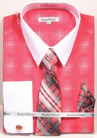 Daniel Ellissa Stylish Shirt Tie Set Mens Coral Plaid DS3796P2 - click to enlarge