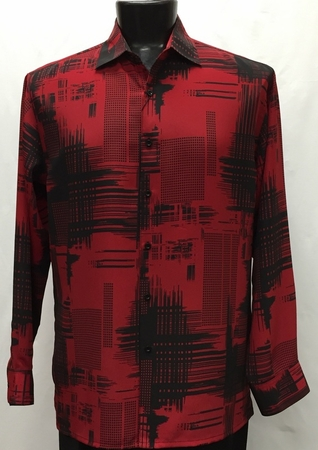 Bassiri Mens Long Sleeve Red Black Pattern Casual Fashion Shirt 6056 - click to enlarge