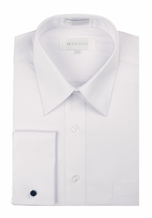 Marquis Mens White Pointed Collar French Cuff Dress Shirt  009F - click to enlarge