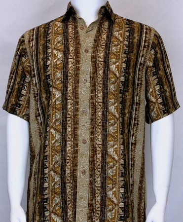 Bassiri Mens Bronze Pattern Casual Short Sleeve Shirt 60451 - click to enlarge