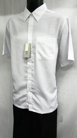 Marquis Mens White Shadow Stripe Casual Short Sleeve Shirt 1205 - click to enlarge