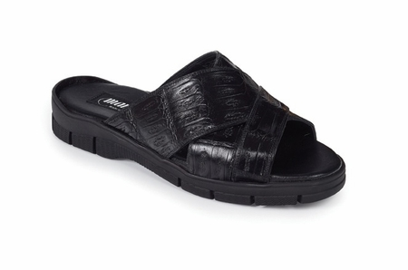 Mauri Italy Mens Black Crocodile Sandals Cagnola 5018 - click to enlarge