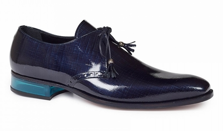 Mauri Italy Mens Blue Patent Leather Plexi Heel Mantegna 4801 - click to enlarge