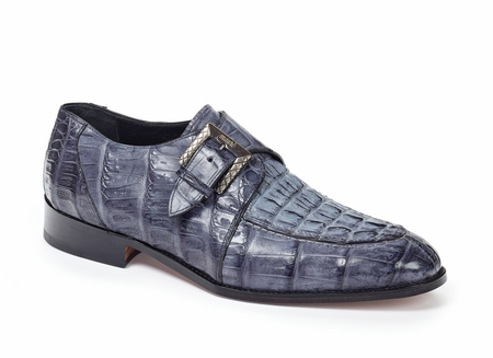 Mauri Crocodile Shoes Mens Gray Hornback Monkstrap Caneletto 4834 - click to enlarge
