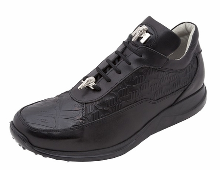 Mauri Shoes Italy Black Embossed Crocodile Toe Sneakers King 8900 - click to enlarge