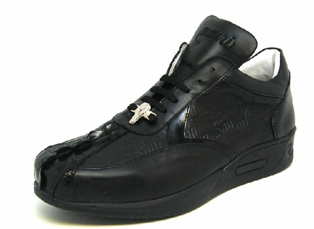 Mauri Shoes Italy Black Embossed Hornback Top Sneakers M770 - click to enlarge