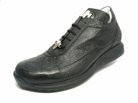 Mauri Shoes Italy Black Pebbled Crocodile Toe Sneakers King 8900 - click to enlarge