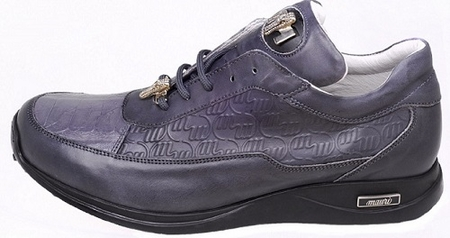 Mauri Shoes Italy Grey Crocodile Toe Sneakers King 8900 Size 9 Final Sale - click to enlarge