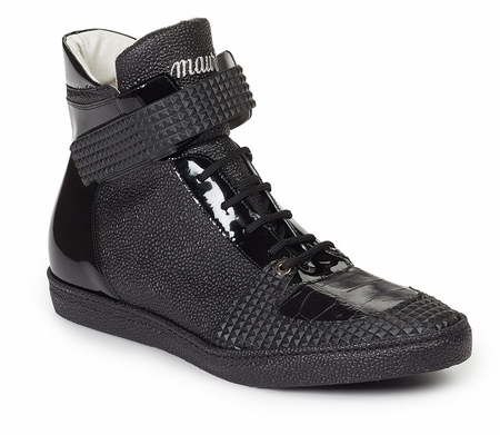 Mauri Shoes Italy Mens Black Crocodile Trim Sneakers Nemo 6129 - click to enlarge
