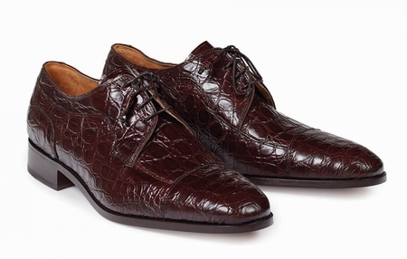 Mauri Shoes Mens Rust Burgundy Crocodile Lace Up Made in Italy 4598 - click to enlarge