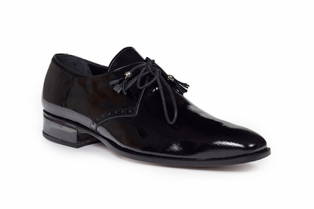 Mauri Shoes Mens Shiny Black Patent Lace Ups 4801 - click to enlarge