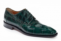 Mauri Shoes Italy Mens Forrest Green Alligator Lace Up 4860