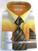 Men Dress Shirts with Ties Edgy Mustard Color Blend DE DS3795