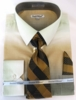 Men Dress Shirts with Ties Fashion Beige Color Blend DE DS3795