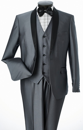 Men's 3 Pc. Slim Fit Shiny Gray Tuxedo Prom Suit Lorenzo Bruno S6501V - click to enlarge