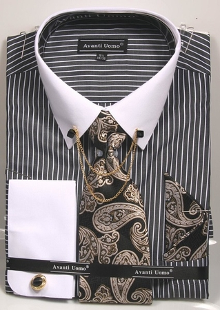 Men's Black Striped Dress Shirt Tie Combo Chain Collar DN77M - click to enlarge