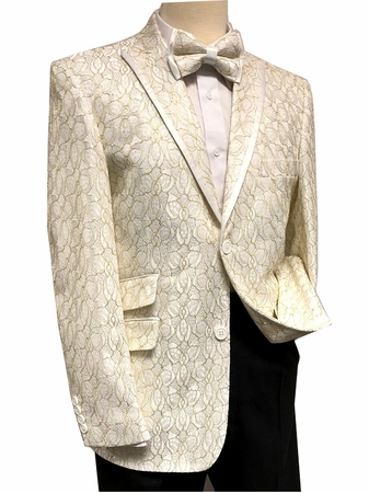 Mens Cream Floral Blazer Entertainer Jacket After Midnight 8032-906 - click to enlarge