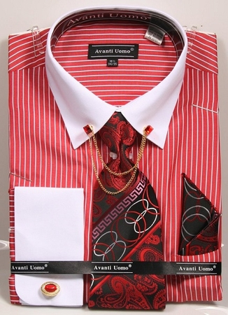 Men's Dress Shirt Tie Combo Red Stripes Collar Chain DN77M - click to enlarge