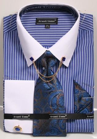 Men's Dress Shirt Tie Combo Royal Stripe Collar Chain DN77M - click to enlarge