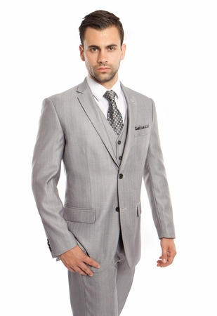Men's Light Gray 3 Piece Italian Style Suit Textured Solid Tazio M158-05 - click to enlarge