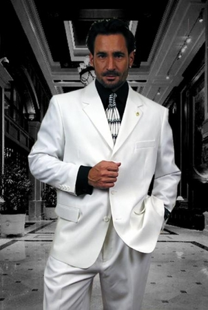 Men's Pure White 3 Button 2 Piece Suit 3RS - click to enlarge