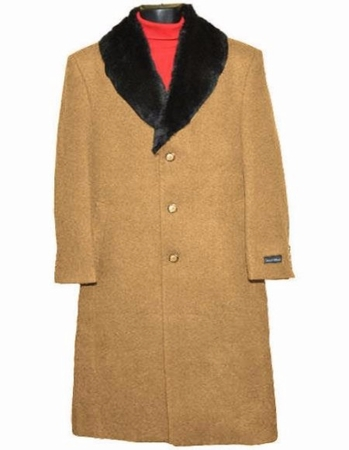Men's Removable Fur Collar Camel Wool Overcoat Full Length Alberto - click to enlarge