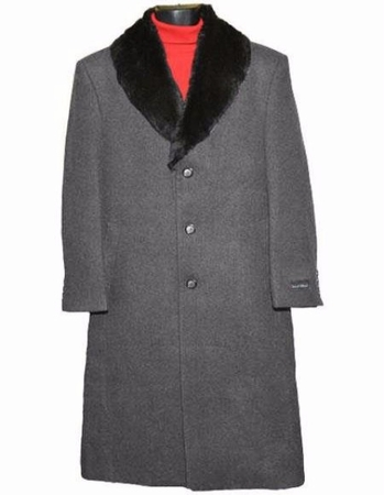 Men's Removable Fur Collar Gray Overcoat Wool Full Length Alberto - click to enlarge