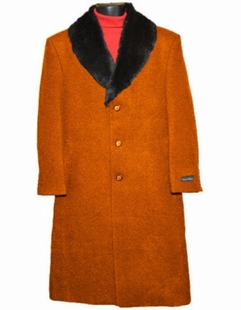 Men's Removable Fur Collar Rust Overcoat Wool Full Length Alberto - click to enlarge