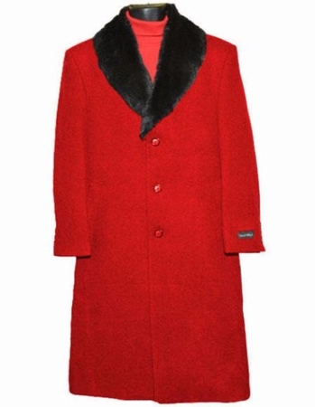 Men's Removable Fur Collar Overcoat Red Wool Full Length Alberto - click to enlarge