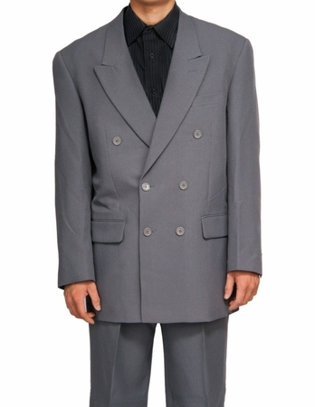 Men's Sharp Double Breasted Gray Dress Suit DPP - click to enlarge