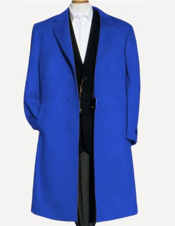 Men's Soft Wool Overcoat Royal Blue Color Split Back Topcoat Alberto Nardoni - click to enlarge