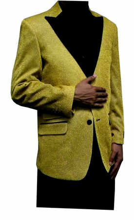 Mens Gold Glitter Blazer Entertainer Style Matching Bow Tie - click to enlarge