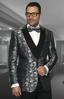 Men's Trendy Slim Fit Fashion Suit Black Floral Tux Statement Bellagio-4