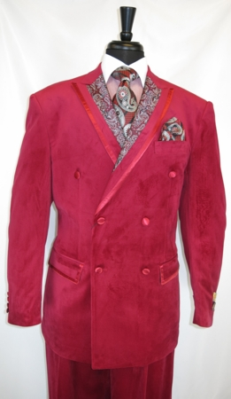 Men's Red Velvet Double Breasted Suit Plush Wide Leg Vinci F2DG-1 - click to enlarge