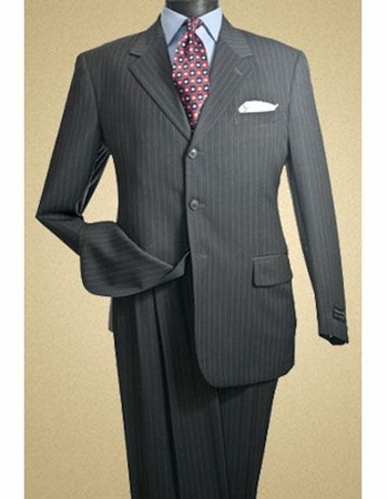 Men's Pinstripe Wool Suit Charcoal 3 Button Classic Fit Alberto 3BVP-1 2pc - click to enlarge