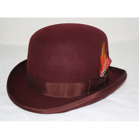 Mens 100% Wool Burgundy Bowler Derby Dress Hat 4745 - click to enlarge