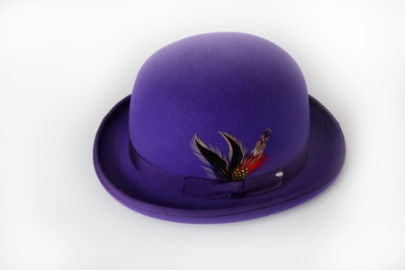 Mens 100% Wool Purple Bowler Derby Dress Hat 4745 - click to enlarge