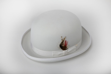 Mens 100% Wool White Bowler Derby Dress Hat 4745 - click to enlarge