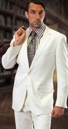 Mens 2 Button Solid White Suit Super 150s Pleated Pants 2TR - click to enlarge