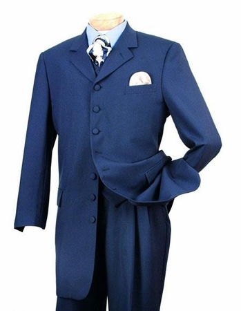 Zoot Suit Mens Party Style Indigo Blue with Vest Alberto Zoot-100 - click to enlarge