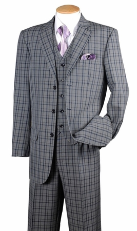 Fortino Mens Navy Plaid 1920s Style 3 Piece Fashion Suit 5802V6 - click to enlarge