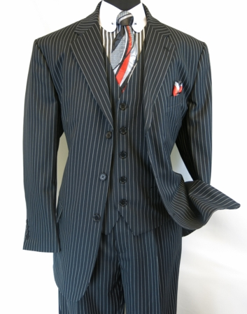 Mens 3 Piece Suit Black White Stripe Pleat Pants Milano 5802V7 - click to enlarge
