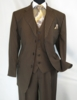 Mens 3 Piece Suit Brown Stripe Side Vents Milano 5802V7