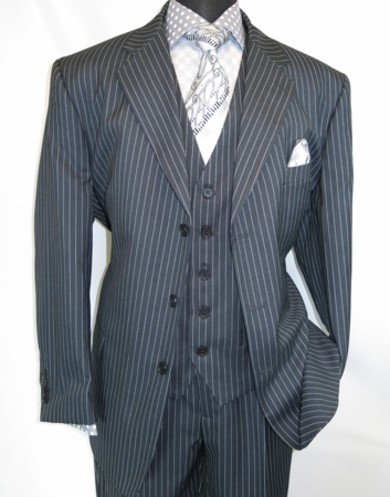 Mens 3 Piece Suit Gray Stripe Side Vents Milano 5802V7 - click to enlarge