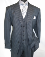 Mens 3 Piece Suit Grey Stripe Side Vents Milano 5802V7