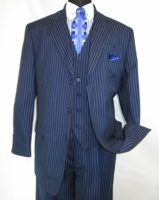 Mens 3 Piece Suit Navy Blue Stripe Pleated Pants Milano 5802V7