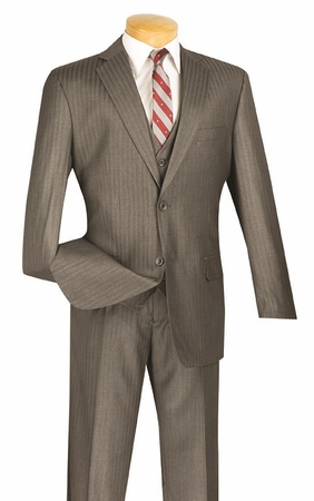 Mens 3 Piece Suit Regular Fit Grey Tonal Stripe Vinci V2TT-8 - click to enlarge