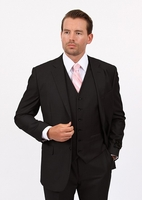 Mens 3 Piece Suit Solid Black Wedding Style Demantie M302-01