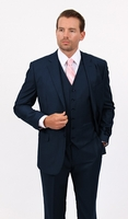 Mens 3 Piece Suit Solid Navy Wedding Style Demantie M302-02