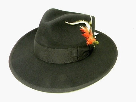Mens All Black Zoot Suit Hat Wide Brim 100% Wool - click to enlarge